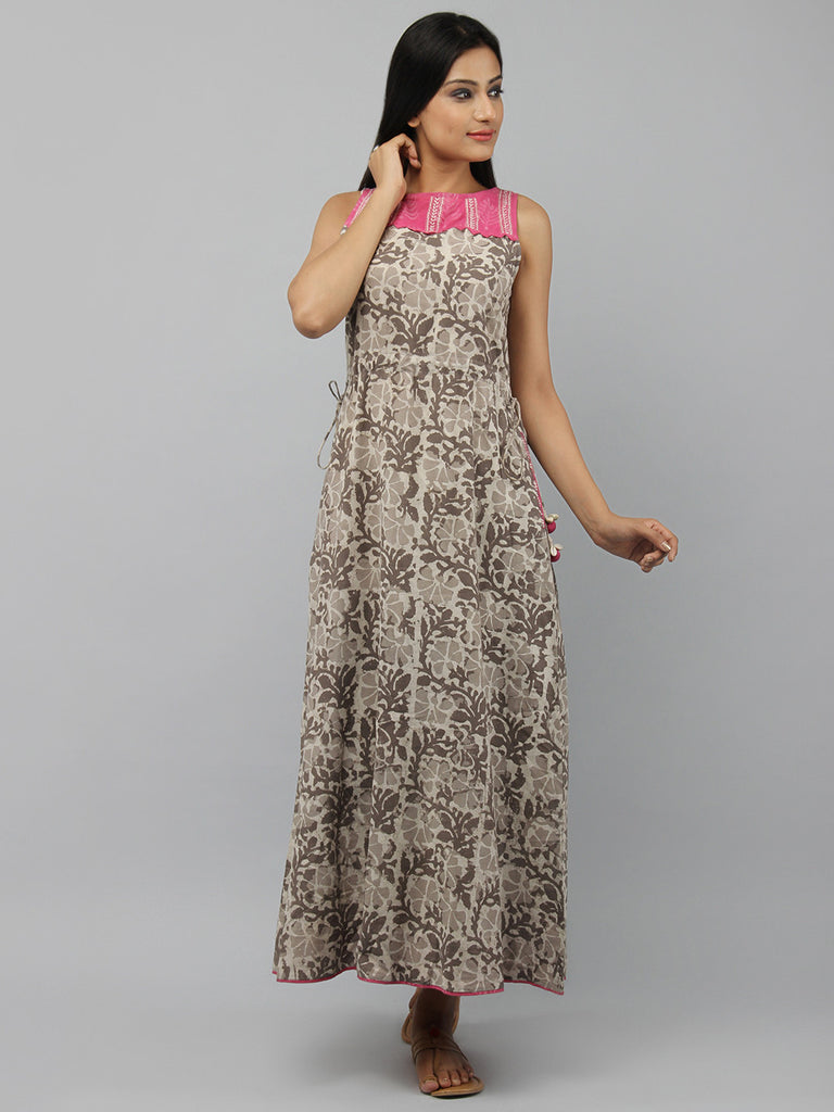 Brown Pink Hand Block Printed Cotton Maxi Dress