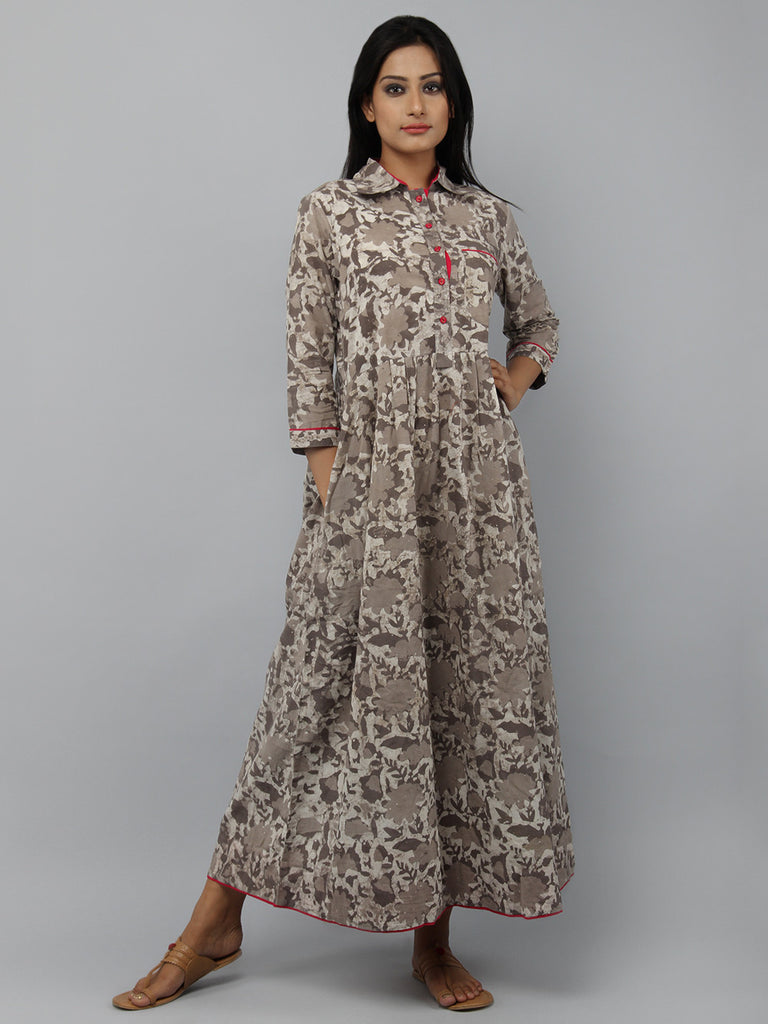 Brown Pink Hand Block Printed Cotton Shirt Dress