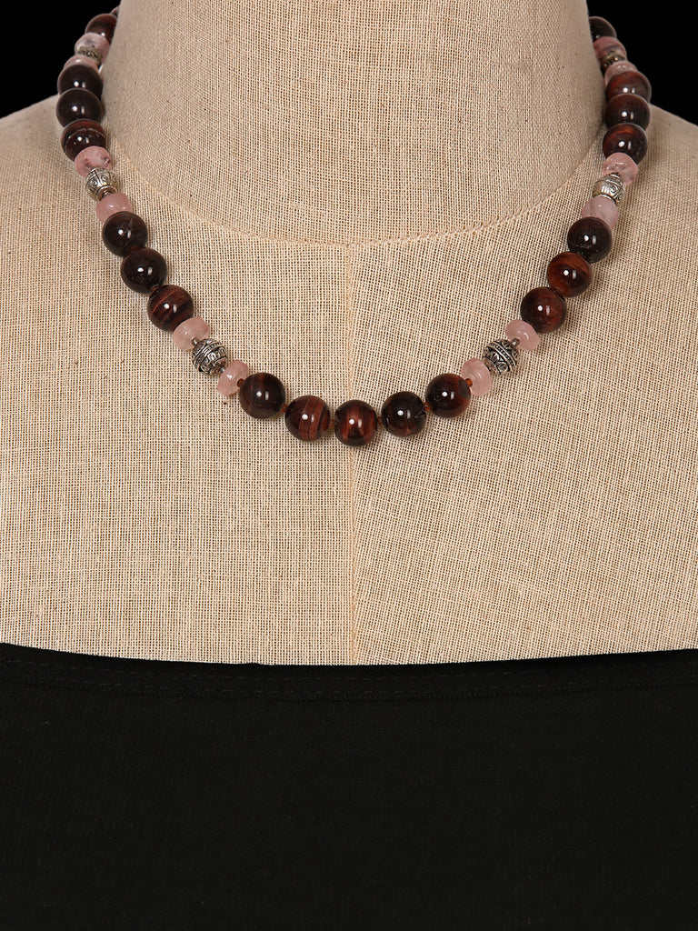 Red Tiger Eye and Rose Quartz Necklace
