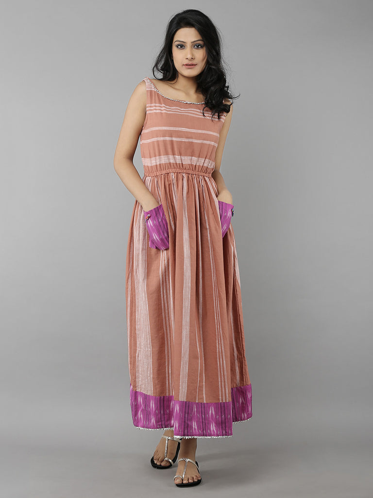 Brown Pink Striped Cotton Handloom Dress
