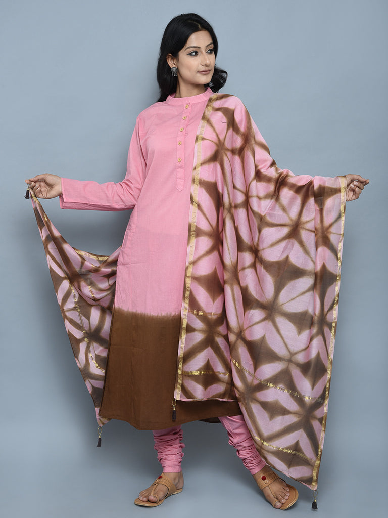 Pink Brown Cotton Ombre Dyed Straight Kurta with Churidar and Dupatta - Set of 3