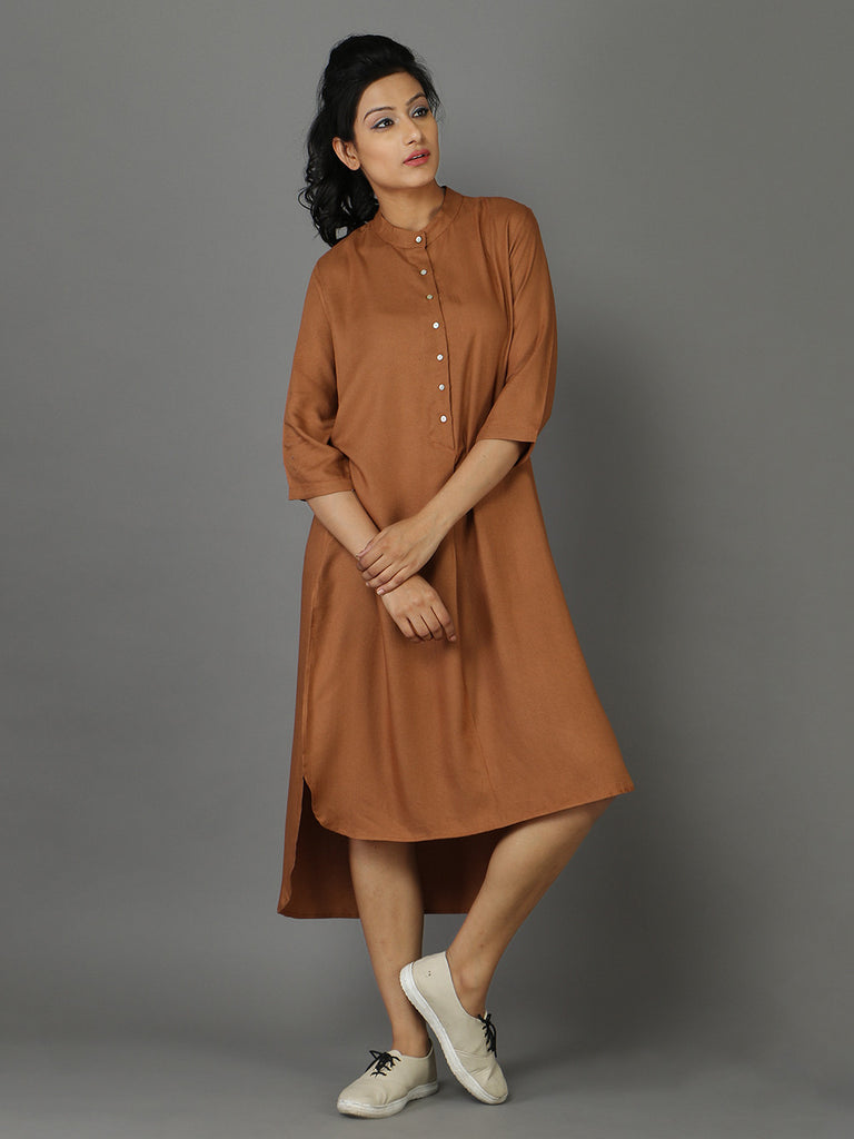 Brown Rayon Moss Shirt Dress