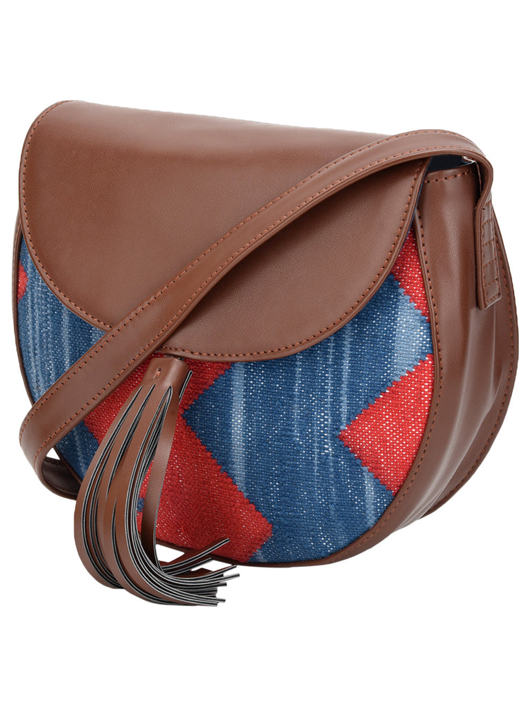 Brown Red Blue Cotton Kilim with Faux Leather Chevron Moon Bag