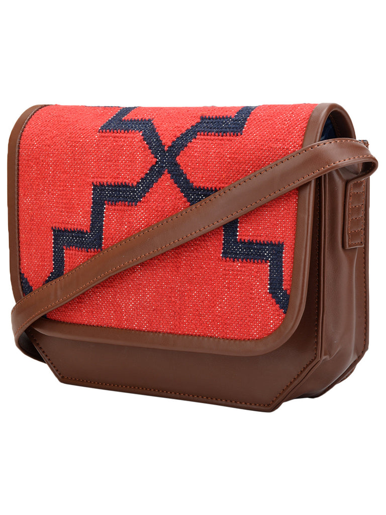 Brown Red Cotton Kilim with Faux Leather Jharokha Trapeze Bag