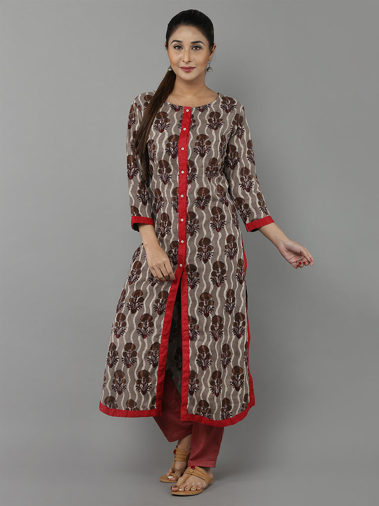 Brown Red Hand Block Printed Cotton Kurta