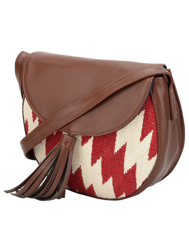 Brown Red Off White Cotton Kilim with Faux Leather Ankara Moon Bag