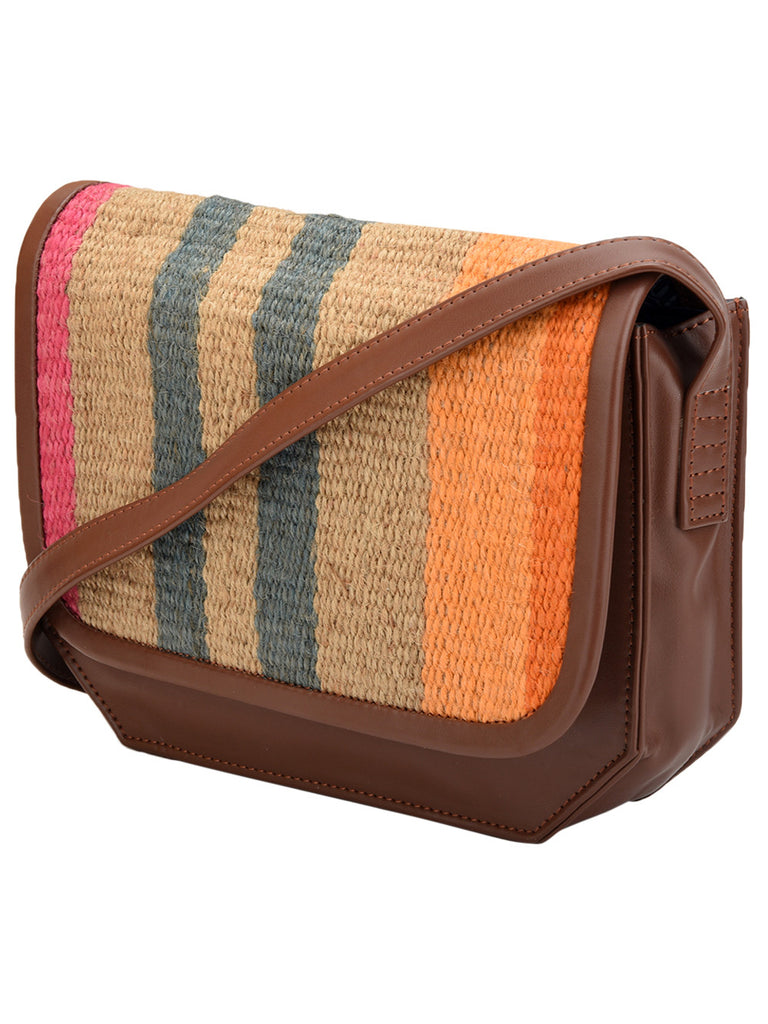 Brown Wool Jute Kilm with Faux Leather Candy Stripes Trapeze Bag