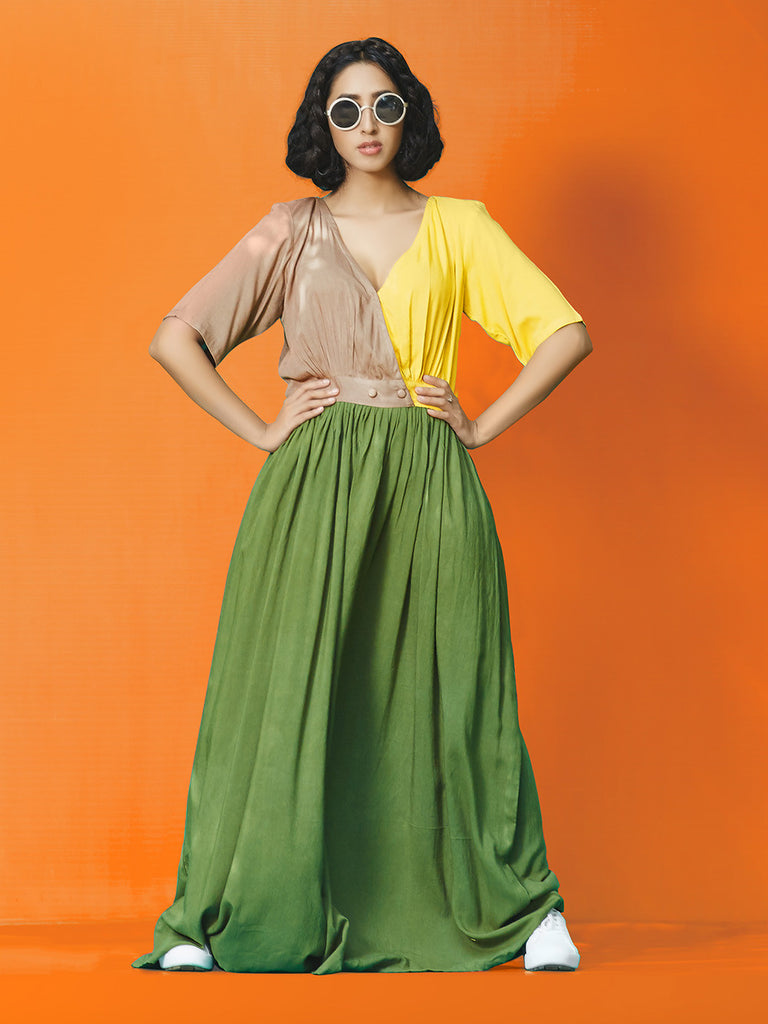 Brown Yellow Green Rayon Cotton Long Maxi