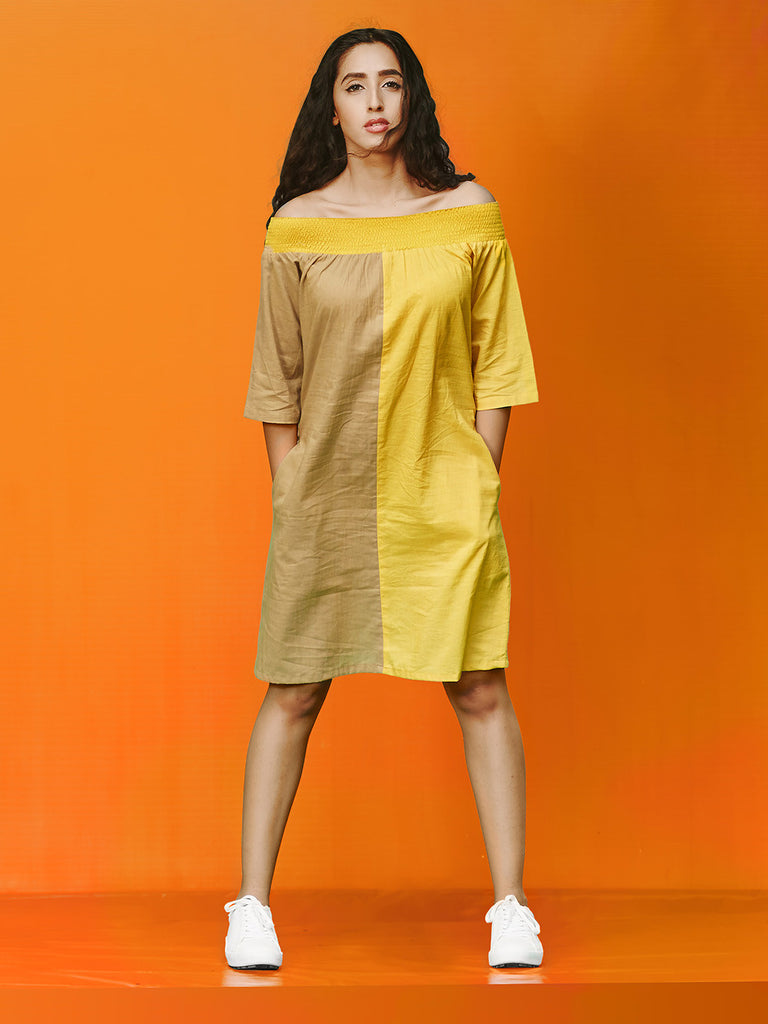 Brown Yellow Rayon Cotton Off Shoulder Dress