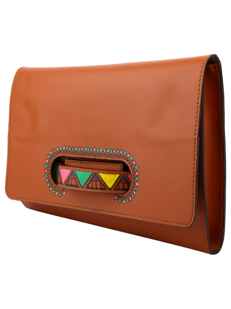 Tan Leather Handheld Envelop Clutch