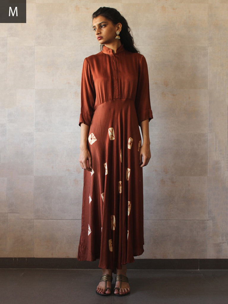 Brown Satin Cotton Silk Bandhej Dress