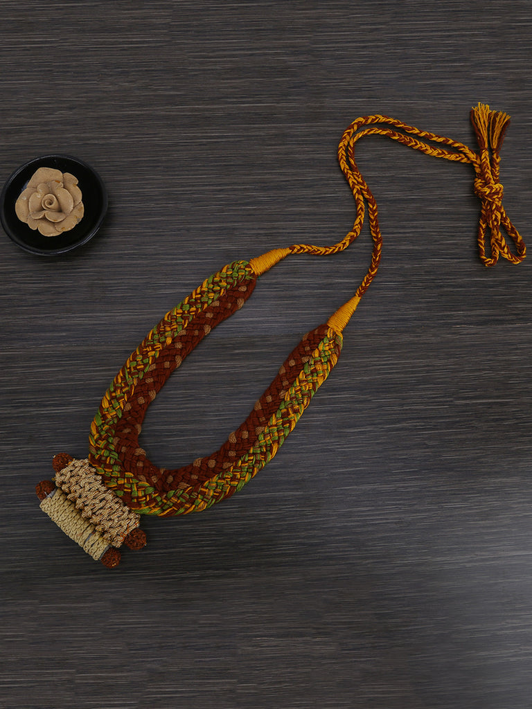 Brown Golden Fabric Bead Necklace