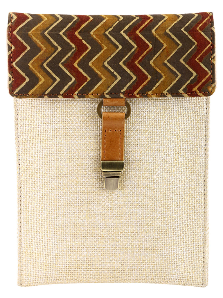Brown iPad Mini/Kindle Jute Sleeve with Ajrak Print