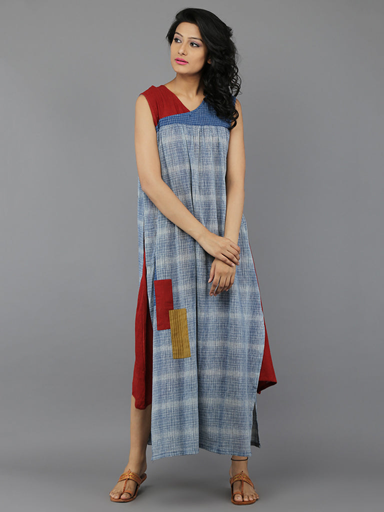 Brown - Blue Khadi Dress
