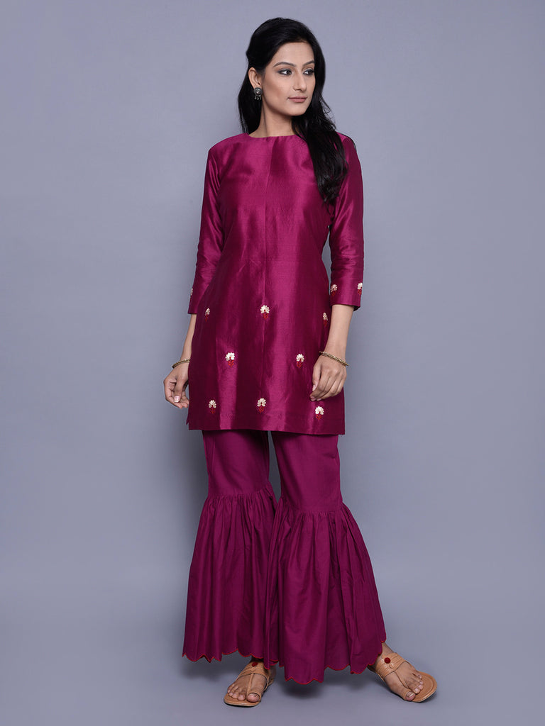 Burgundy Chanderi Embroidered Kurta