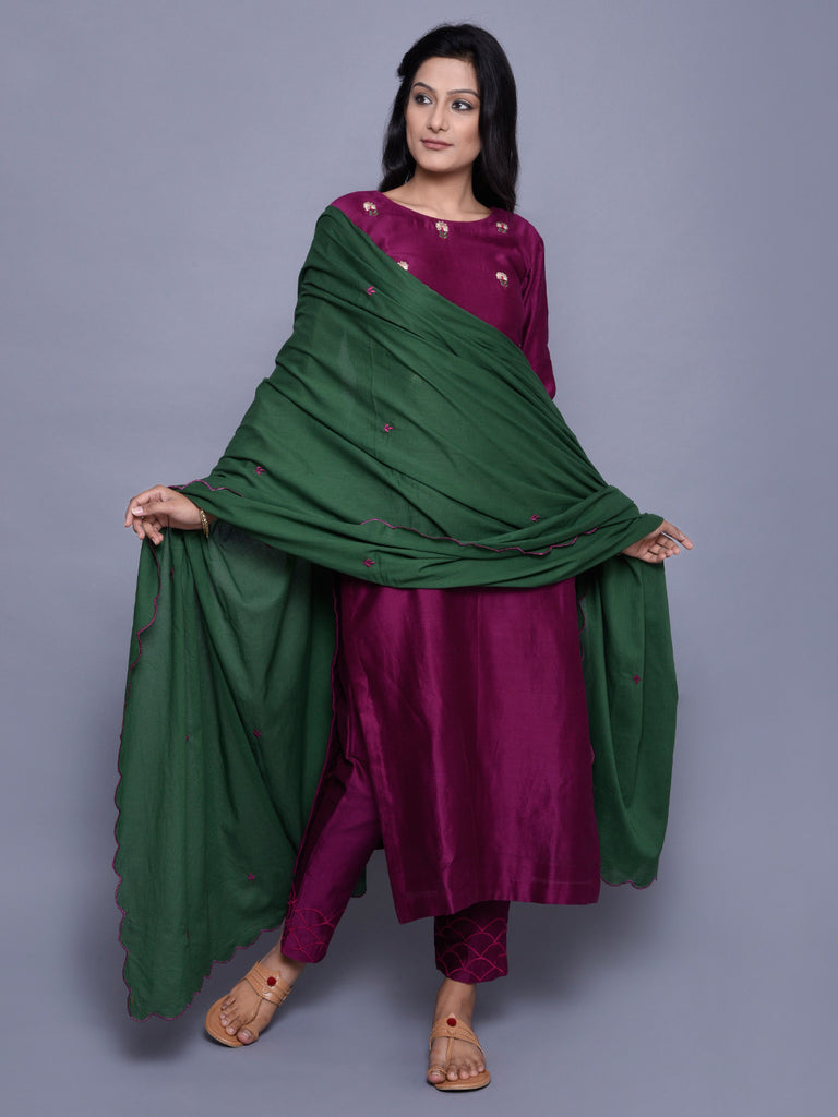 Green Mul Mul Embroidered Dupatta