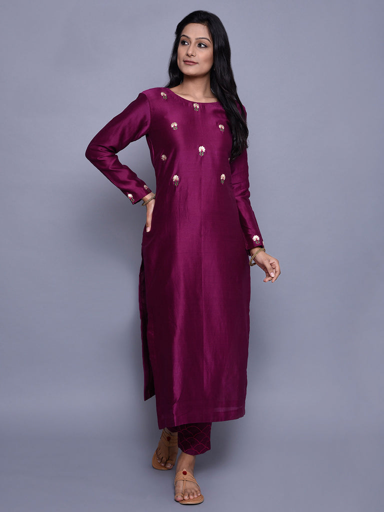 Burgandy Chanderi Embroidered Kurta