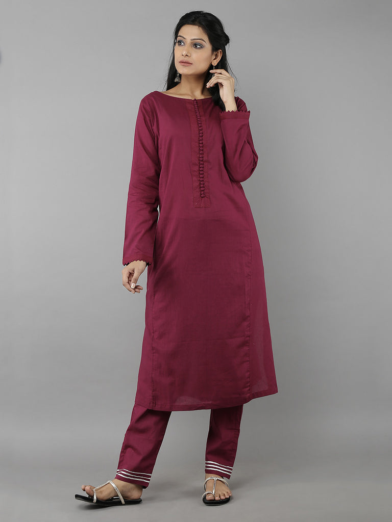 Burgundy Cotton Mul Kurta