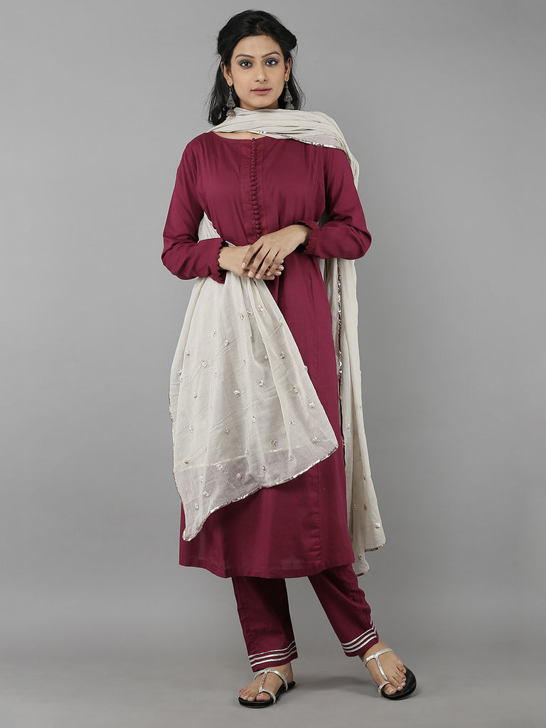 Grey Cotton Gota Sitara Dupatta