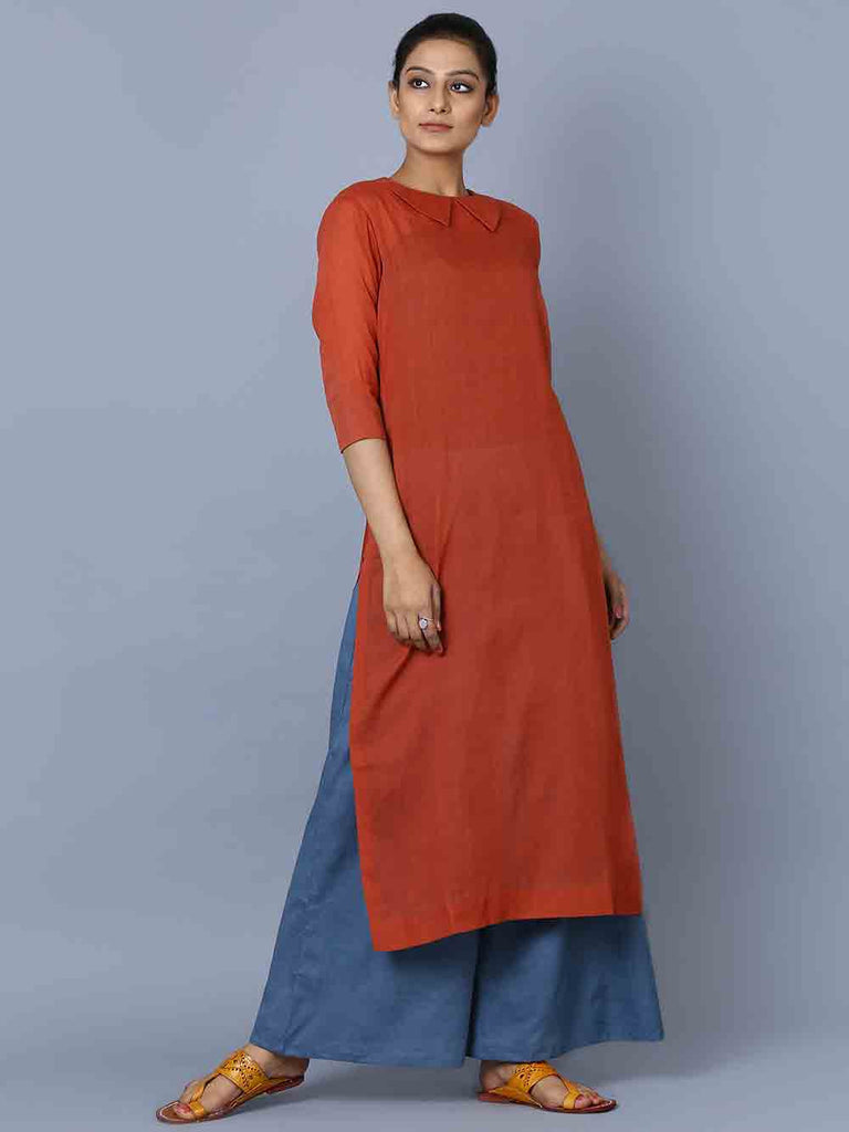 Burnt Orange Blue Mulmul Kurta and Palazzo - Set of 2