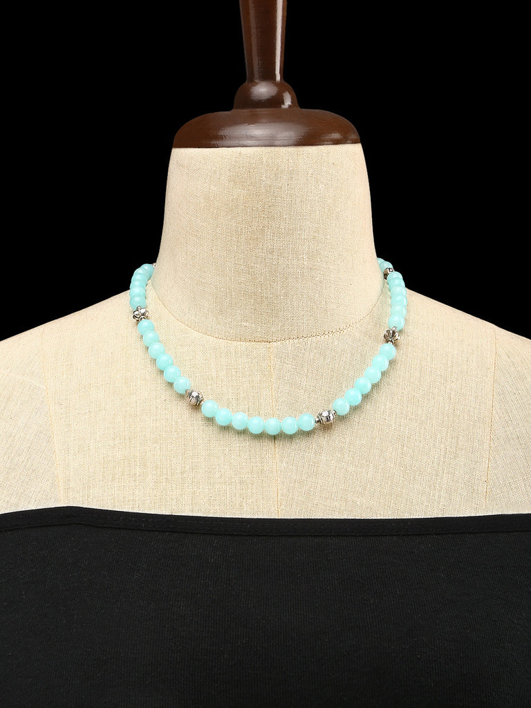 Chalcedony with GS Beads Single Strand Necklace