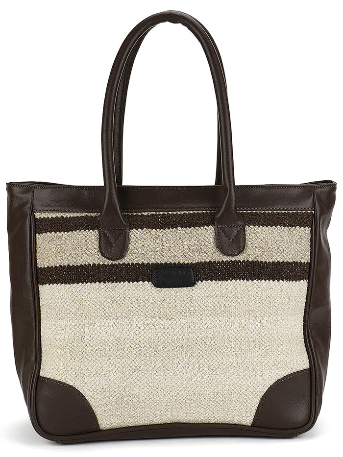 Chalk White Brown Stripes Kilim Tote Bag