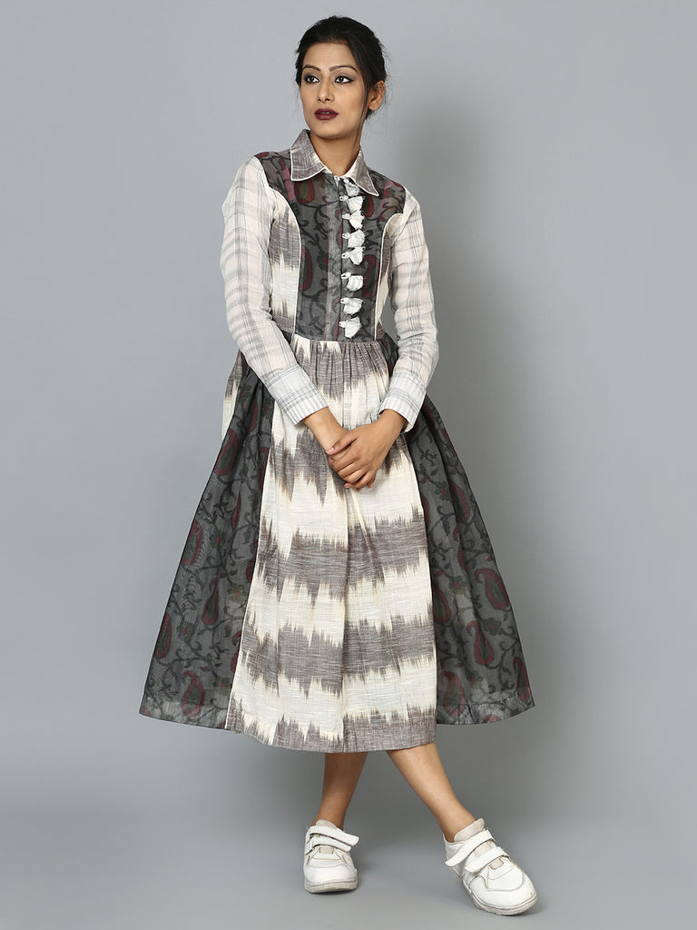 Charcoal Grey Chanderi Dress