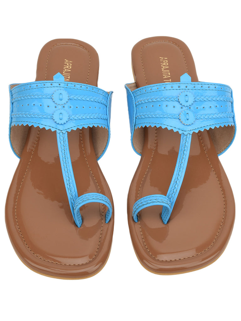 Brown Light Blue Hand Crafted Leatherette Kolhapuris