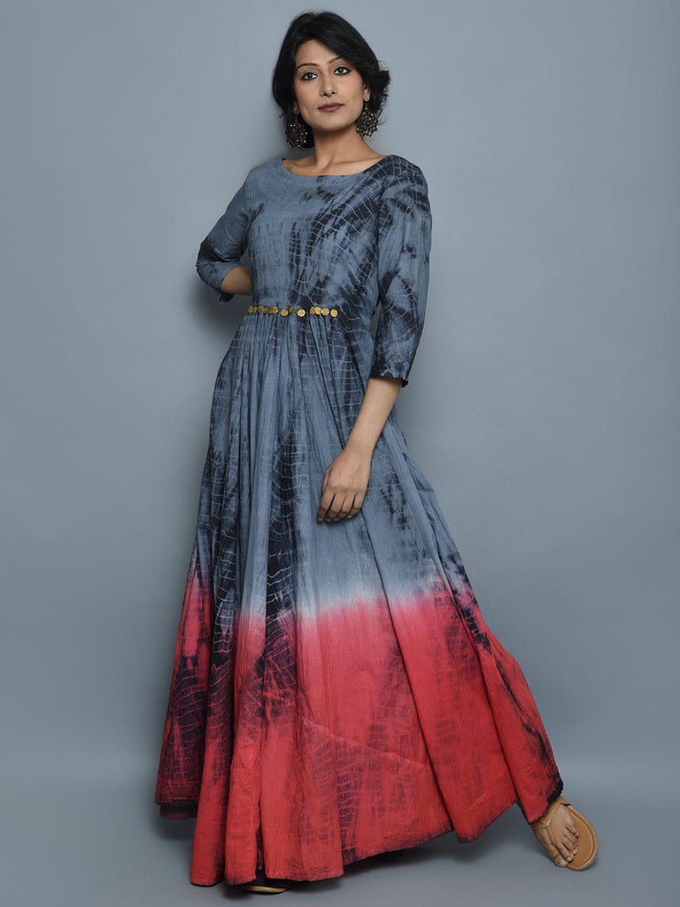 Coral Grey Red Cotton Long Dress