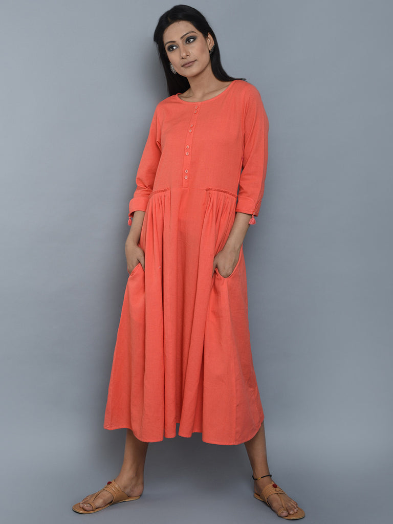 Coral Pleated Khadi Dress