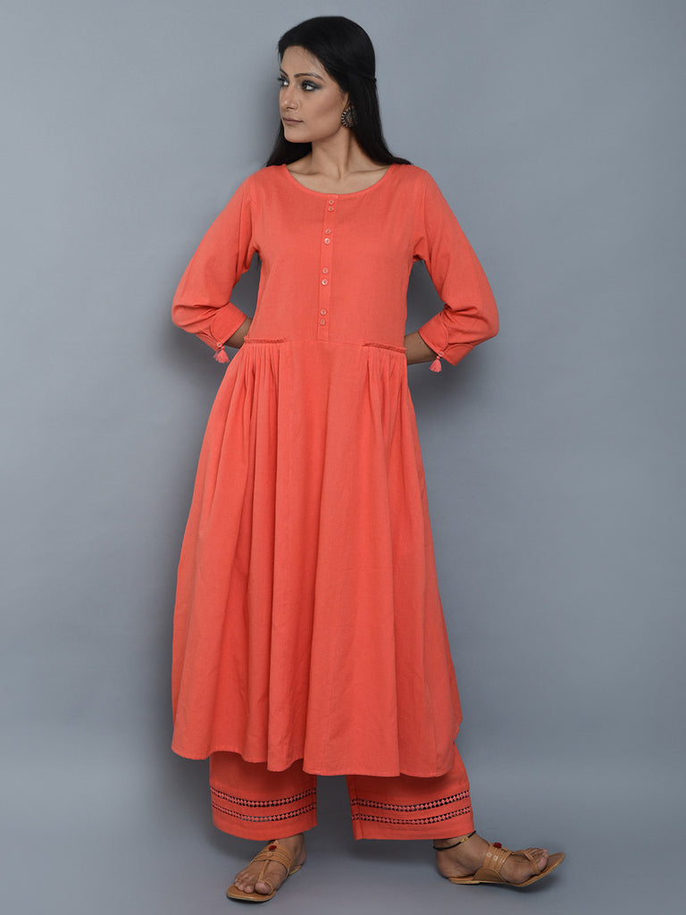 Coral Pleated Khadi Kurta and Palazzo - Set of 2