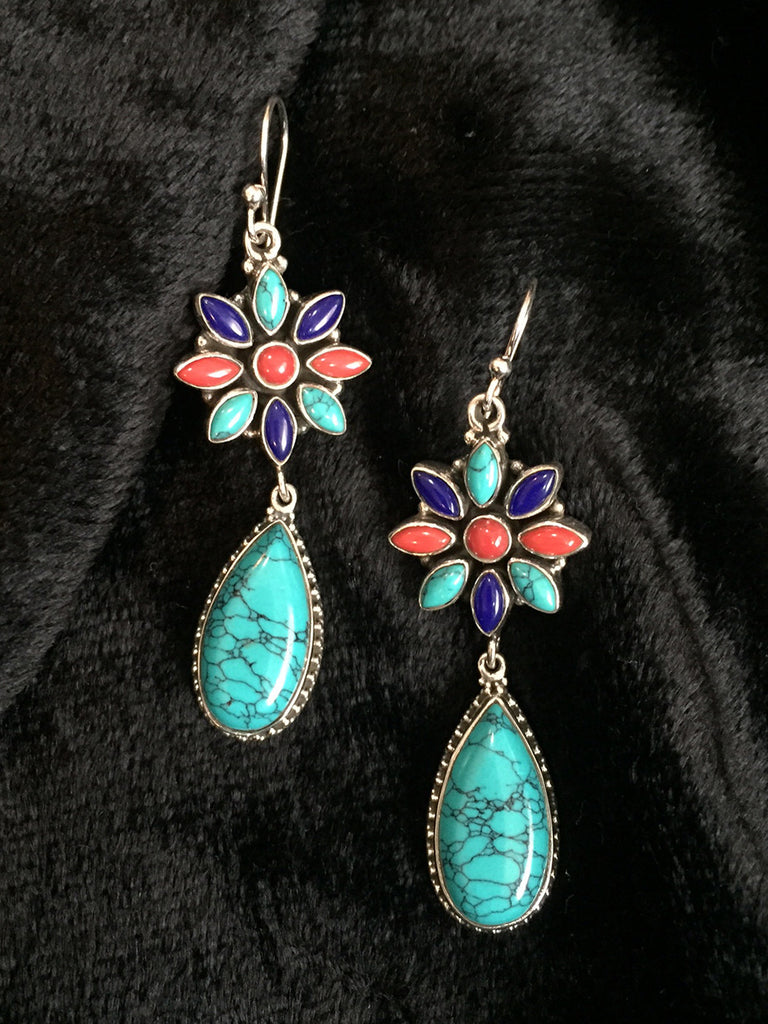 Coral Turquoise Lapis Silver Earrings
