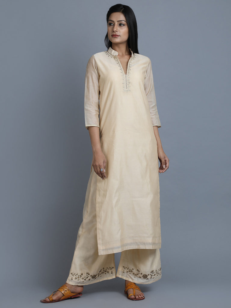 Cream Chanderi Embroidered Mandarin Kurta