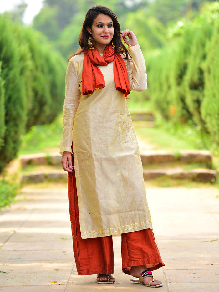 Cream Chanderi Kurta with Rust Palazzo and Rust bird Tassel Scarf - Set of 3