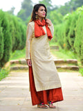 Cream Chanderi Kurta with Rust Pallazo and Rust bird Tassel Scarf - Set of 3