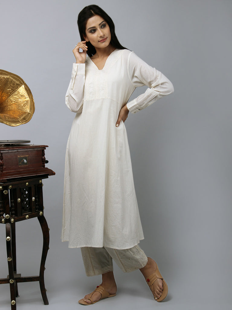 Cream Embroidered Cotton Tunic