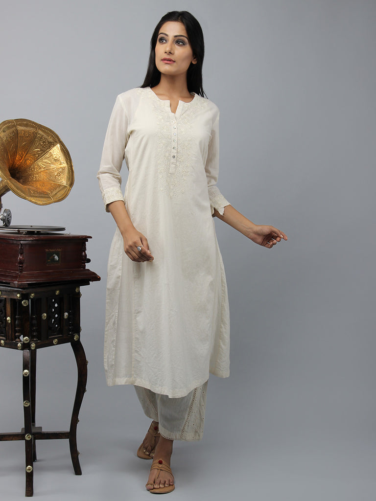 Cream Embroidered Chanderi Cotton Kurta