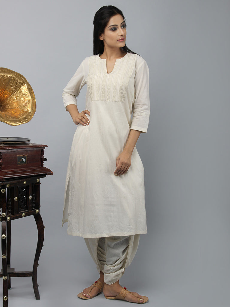 Cream Embroidered Chanderi Cotton Straight Kurta