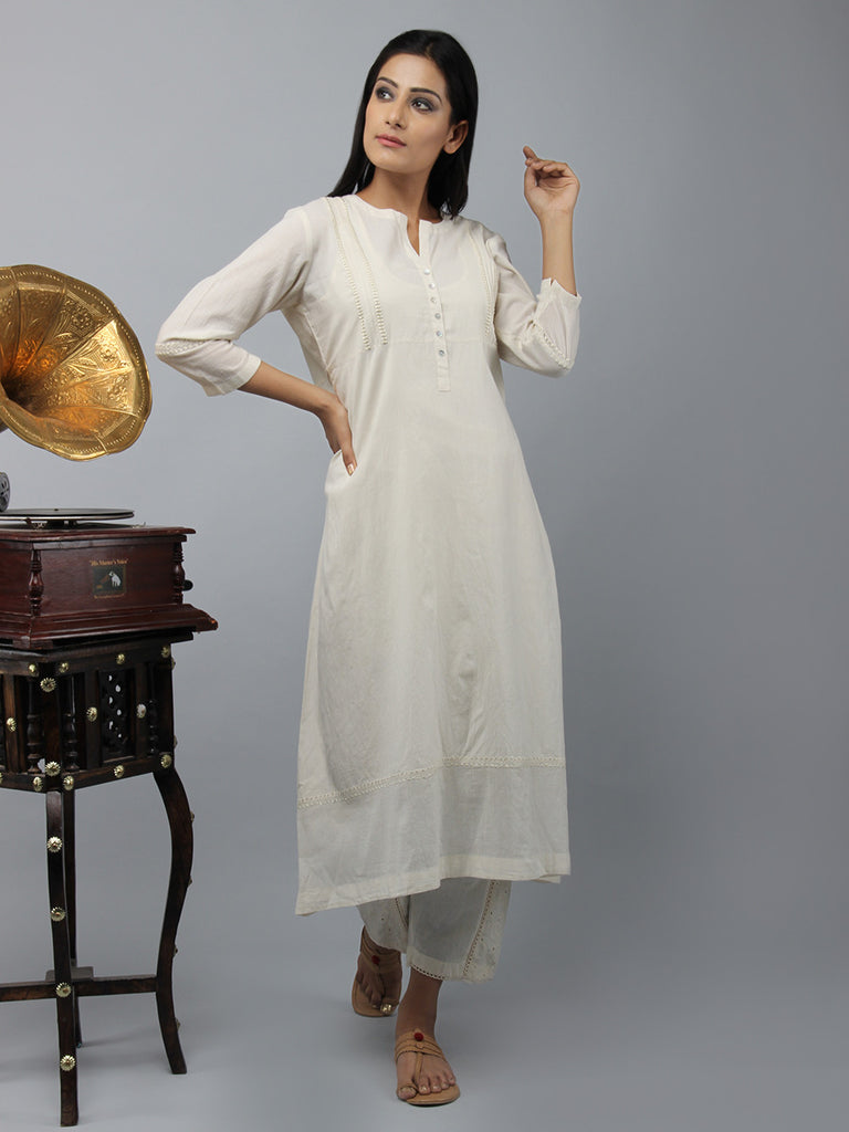 Cream Embroidered Cotton Kurta