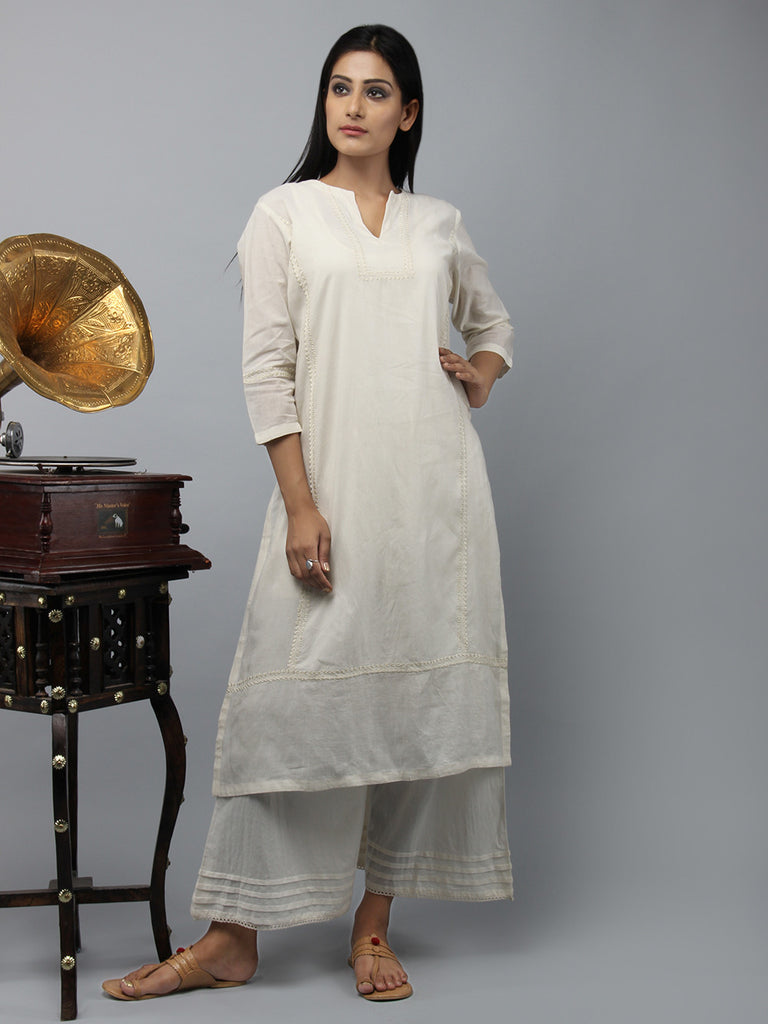 Cream Embroidered Cotton Straight Kurta