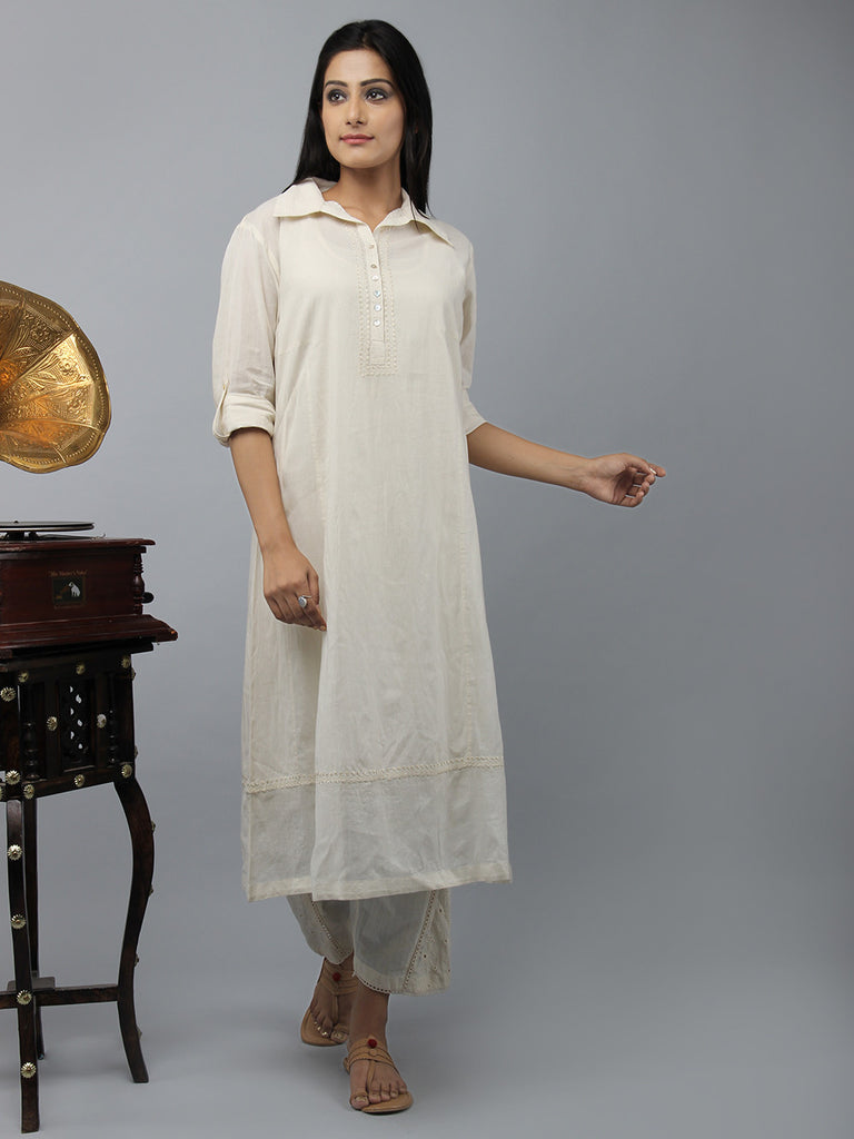 Cream Embroidered Side Kali Cotton Kurta