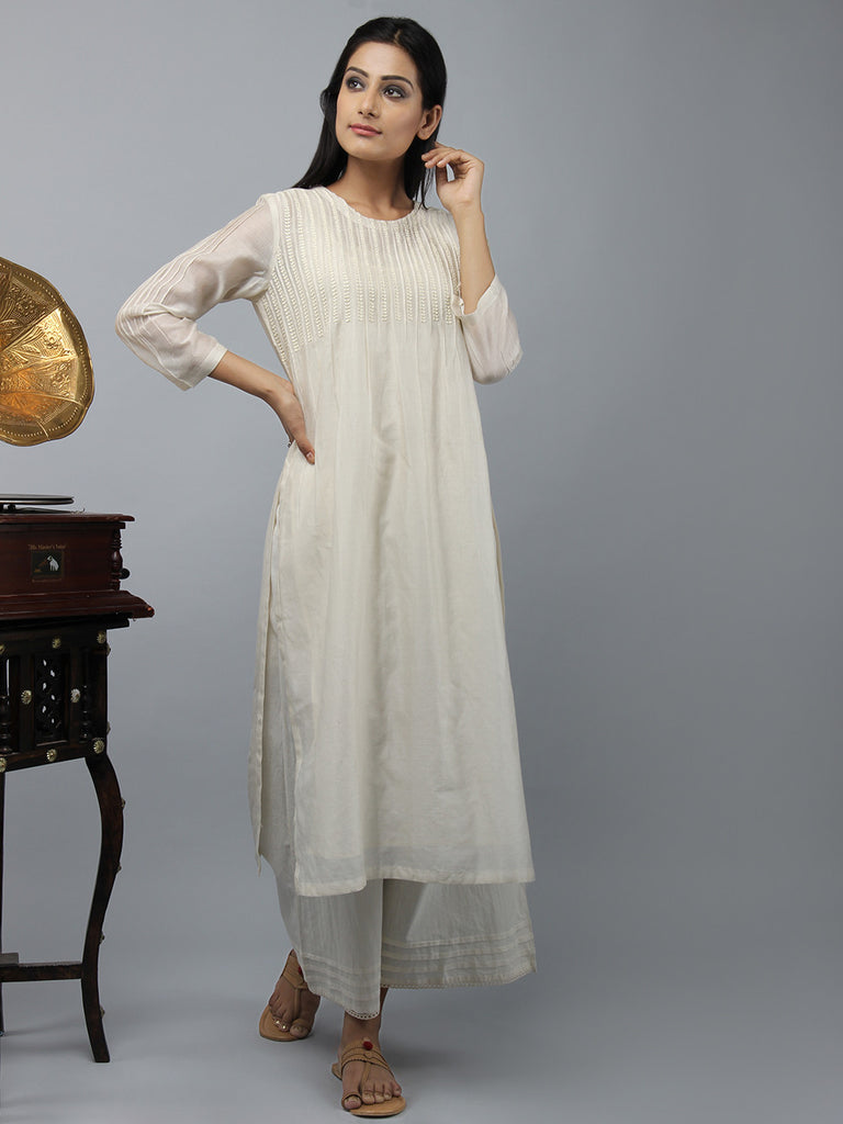 Cream Embroidered Straight Chanderi Cotton Kurta