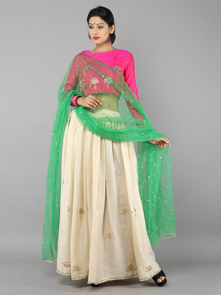 Cream Pink Green floral Foil Printed Lehenga -Set of 3