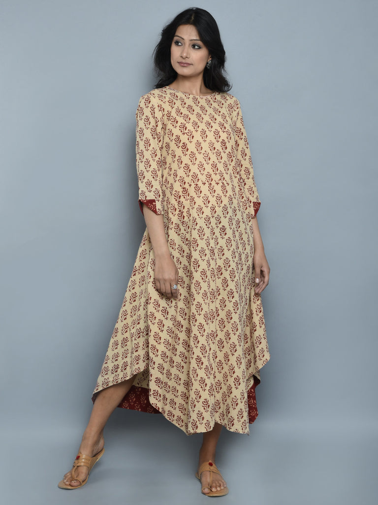 Creme Hand Block Printed Cotton Dress
