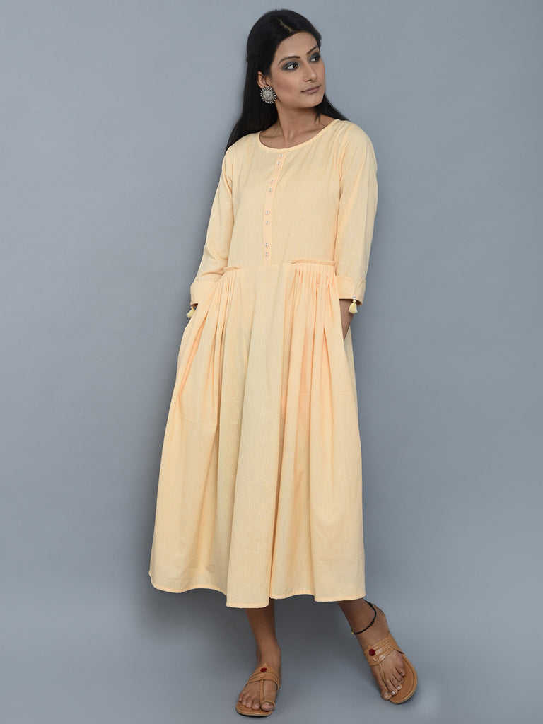 Creme Pleated Khadi Dress