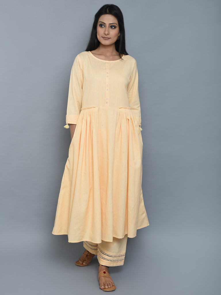 Creme Pleated Khadi Kurta and Palazzo - Set of 2