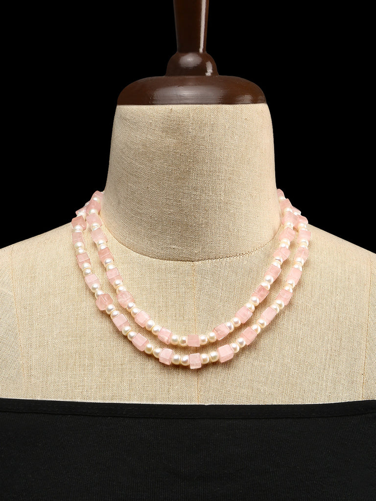 Cube Rose Quartz with Pearls Double Strand Necklace