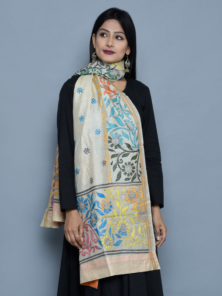Multi Color Tussar Silk Bouquet Kantha Stole