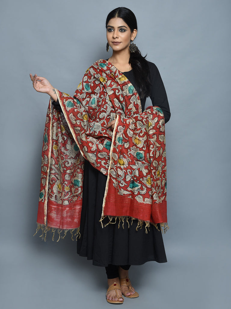 Red Chanderi Hand Painted Kalamkari Dupatta