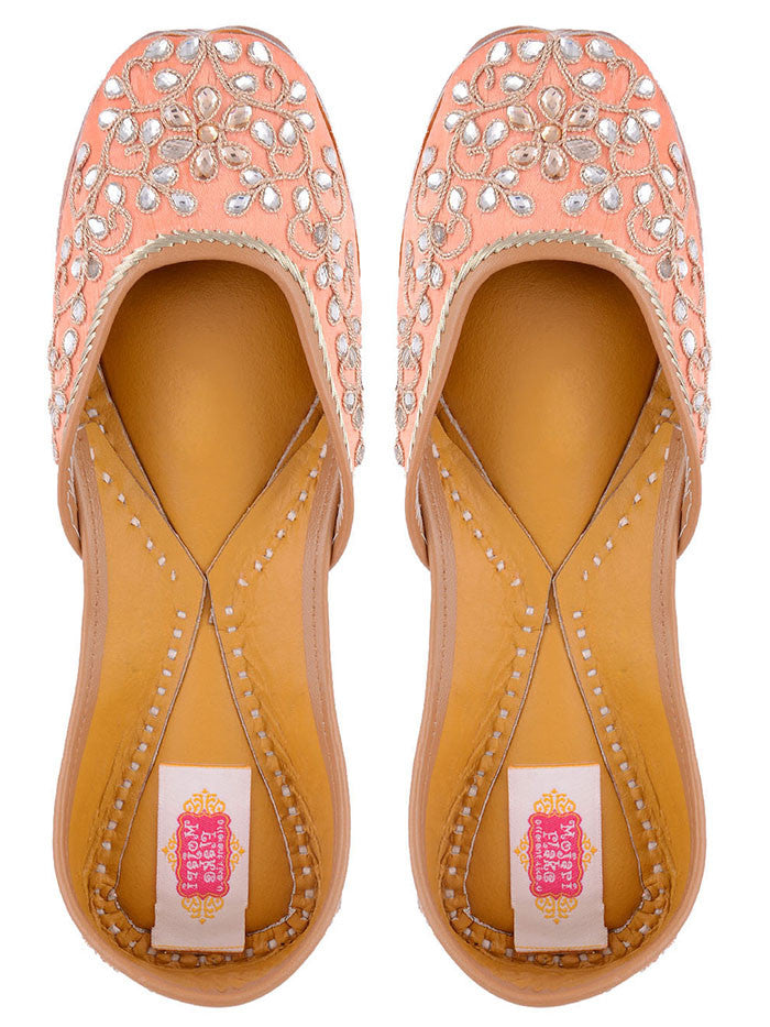 Peach Hand Embroidered Leather Mojari